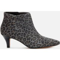 Clarks Linvale Sea Suede Heeled Ankle Boots - Grey Leopard