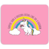 Happier Than A Unicorn Eating Cake Mouse Mat - Eating Gifts