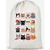 Christmas Cats Cotton Storage Bag - Small