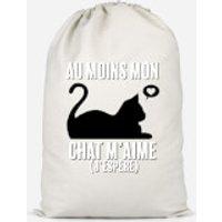 Au Moins Mon Chat M'aime J'espere Cotton Storage Bag - Small