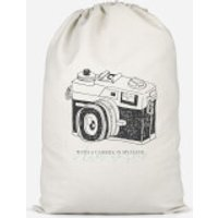'With A Camera In My Hand, I Know No Fear Cotton Storage Bag - Small