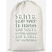 Santa Saw Your FB Photos Cotton Storage Bag - Small - Photos Gifts