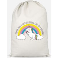 Happier Than A Unicorn Eating Cake Cotton Storage Bag - Large - Eating Gifts