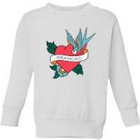 Grandad Heart Kids' Sweatshirt - White - 11-12 Years - White - Grandad Gifts