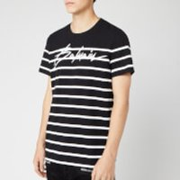 Balmain Men's Striped Signature Balmain T-Shirt - Noir/Blanc - L - Black