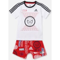 adidas Boys Infant Dy Spider-Man T-Shirt and Short Set - White/Red - 12-18 months