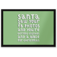 Santa Saw Your FB Photos Entrance Mat - Photos Gifts
