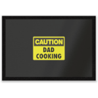 Caution Dad Cooking Entrance Mat - Cooking Gifts