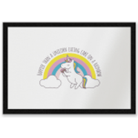 Happier Than A Unicorn Eating Cake Entrance Mat - Eating Gifts