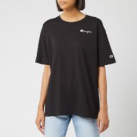 Champion Women's Small Script Crew Neck Short Sleeve T-Shirt - Black - M