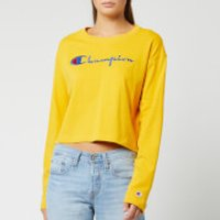 Champion Women's Big Script Long Sleeve Cropped T-Shirt - Golden Rod - L