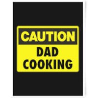 Caution Dad Cooking Art Print - A3 - Cooking Gifts