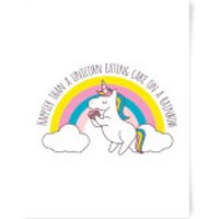Happier Than A Unicorn Eating Cake Art Print - A3 - Eating Gifts