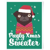 Pugly Xmas Sweater Art Print - A3 - Sweater Gifts