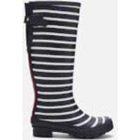 Joules Women's Welly Print Back Adjustable Tall Wellies - Cream Blue Stripe - UK 3