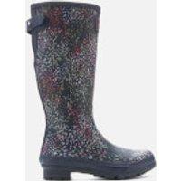 Joules Women's Welly Print Back Adjustable Tall Wellies - Navy Rain - UK 3