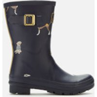 Joules Women's Molly Mid Height Printed Wellies - Navy Harbour Dogs - UK 3