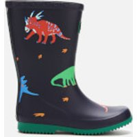 Joules Kids' Printed Roll up Packable Wellies - Dark Blue Dinos - UK 2 Kids