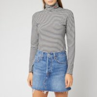 Levi's Women's Knit Turtleneck Top - Logo Knit Turtleneck Cascade Stripe - XS