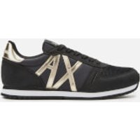 Armani Exchange Women's Suede Running Style Trainers - Black/Light Gold - UK 4