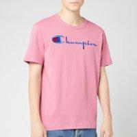 Champion Men's Big Script Crew Neck T-Shirt - Pink - M