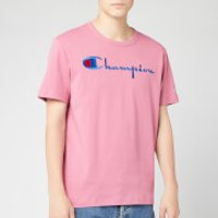 Champion Men's Big Script Crew Neck T-Shirt - Pink - L