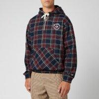 Champion X Clothsurgeon Men's Small Logo Half Zip Hooded Sweatshirt - Red Tartan - M