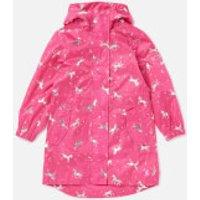 Joules Girls' Go Lightly Longline Rain Jacket - Pink Unicorn - 7-8 Years