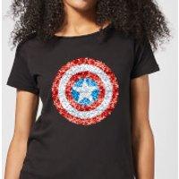 Marvel Captain America Pixelated Shield Women's T-Shirt - Black - S - Black