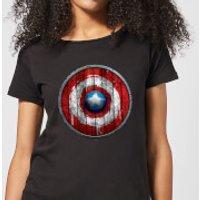 Marvel Captain America Wooden Shield Women's T-Shirt - Black - L - Black