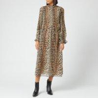 Ganni Women's Pleated Georgette Dress - Leopard - EU 38/UK 10