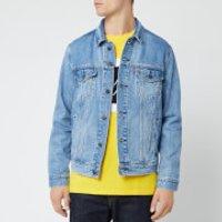 Levi's Men's Trucker 90's Logo Text Back Denim Jacket - Blue - XXL