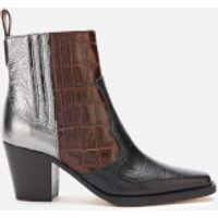 Ganni Women's Leather Western Heeled Boots - Multicolour - UK 3
