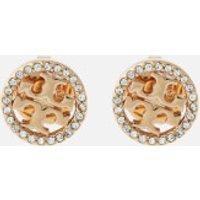 Tory Burch Women's Pave Logo Circle-Stud Earrings - Tory Gold