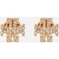 Tory Burch Women's Crystal Logo Stud Earrings - Gold/Crystal