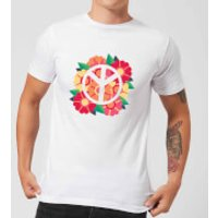Peace Symbol Floral Men's T-Shirt - White - S - White