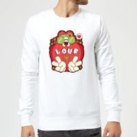 Hippie Love Cartoon Sweatshirt - White - M - White