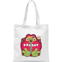 Hippie Psychedelic Cartoon Tote Bag - White - Hippie Gifts