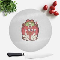 Hippie Love Cartoon Round Chopping Board - Hippie Gifts