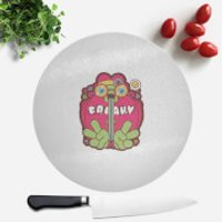 Hippie Psychedelic Cartoon Round Chopping Board - Hippie Gifts