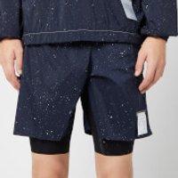 Satisfy Men's Trail Long Distance 10  Shorts - Navy Silk Splattered - L