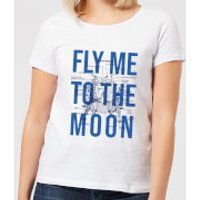 Fly Me To The Moon Blue Print Women's T-Shirt - White - S - White