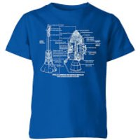 Command And Service Module Schematic Kids' T-Shirt - Royal Blue - 3-4 Years - Royal Blue