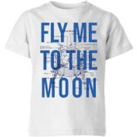 Fly Me To The Moon Blue Print Kids' T-Shirt - White - 7-8 Years - White