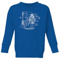 Command And Service Module Schematic Kids' Sweatshirt - Royal Blue - 7-8 Years - Royal Blue