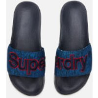Superdry Men's Classic Embroidered Pool Slide Sandals - Navy Grit - L