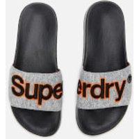 Superdry Men's Classic Embroidered Pool Slide Sandals - Grey Grit - M