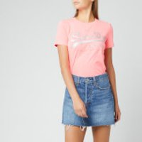 Superdry Women's V Logo Glitter Emboss Entry T-Shirt - Fluro Pink Marl - UK 12
