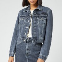 Helmut Lang Womens Raised Embroidery Masked Trucker Jacket -