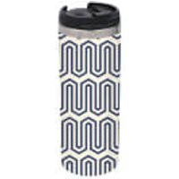 Navy And Nude Geometric Pattern Stainless Steel Thermo Travel Mug - Travel Gifts